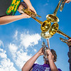 Participants in UAF's recent JazzFest put their horns together to make some sweet sounds in front of the Fine Arts Complex.
