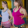 (left to right) Katheryn Zimmerman and Heather Butler  learn how to middle eastern dance in one of the recreation classes offered at the student rec center on campus.