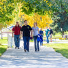 Jacob Monagle and Lindy Olmstead walk up the hill after lunch in the Commons on a beautiful September afternoon on the Fairbanks campus. Monagle is a senior majoring in electrical engineering. Olmstead is studying to become a nurse.