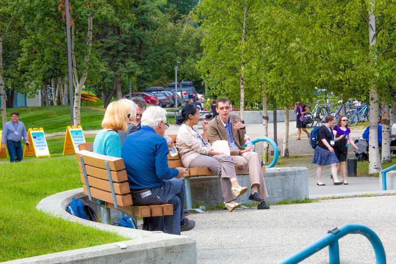 Participants in the International Congress on Circumpolar Health enjoy an outdoor lunch on the campus core during the week-long conference. The event drew more than 500 health researchers, physicians and policymakers from around the world to the Fairbanks campus.