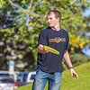 Engineering major Philip White takes time between classes to play with a frisbee on a beautiful September afternoon on the Fairbanks campus.