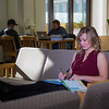 Music education major Anna Polum finds a comfortable spot to study in the Rasmuson Library.