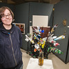 Biology major Jess Morris sculpted this bouquet, titled 'Tetamus,' from recycled aluminum cans and entered it in the UAF sustainable art show.