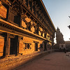 The Palace of 55 Windows glows warm in the sunrise. Durbar Square, Bhaktapur. Nepal