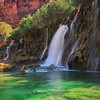 Navajo Falls in the Grand Canyon West<br /> The water's color comes from minerals in spring water