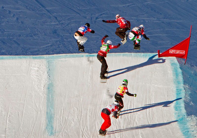 2014 FIS Snowboardcross World Cup - Vallnord, Andorra.<br /> FAGAN ROBERT(CAN)RED, VISINTIN OMAR(ITA)BLACK, HILL KEVIN(CAN)GREEN, DOUSCHAN HANNO(AUT)YELLOW, PALMER SHAUN(USA)BLUE, TUTTLE ALEX(USA)WHITE<br /> Photo © Mario Sobrino<br /> PHOTO MAY BE USED FOR EDITORIAL USE ONLY.