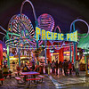 Pacific Park at the Santa Monica Pier showing the colorful night lights. Photo by Nachopix