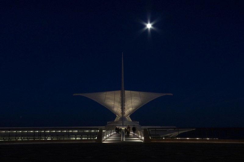 Full Moon over Calatrava Museum, Milwaukee Wisconsin.