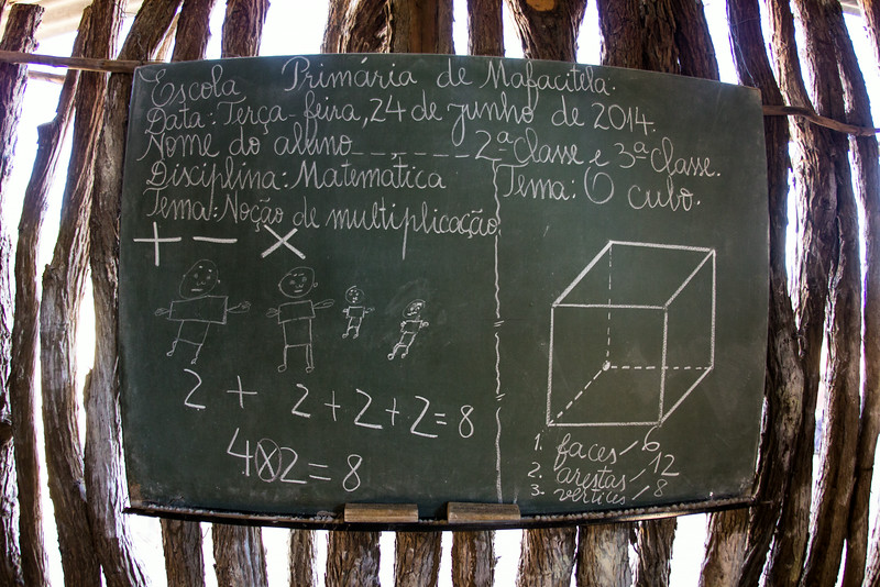 A mathematics lesson, in Portuguese, frozen in time at Escola Primaria de Mafacitela, a small primary school in rural Gaza Province, Mozambique.