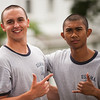 4th Company candidates pose for a photo in between obstacle course attempts during obstacle course training at SUNY Maritime College on July 16th, 2014.