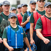 1st Company Platoon 102 candidates marching as they return to the boats to Merchant Marine Academy  following obstacle course training at SUNY Maritime College on July 14th, 2014.