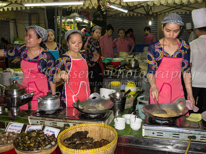 The Benh Thanh outdoor market in Ho Chi Minh City, Saigon, Vietnam, Asia.