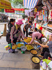 An outdoor market on the Perfume River Pagoda trip by rowboat from Ben Duc to a large cave and buddhist shrine, Vietnam, Asia.