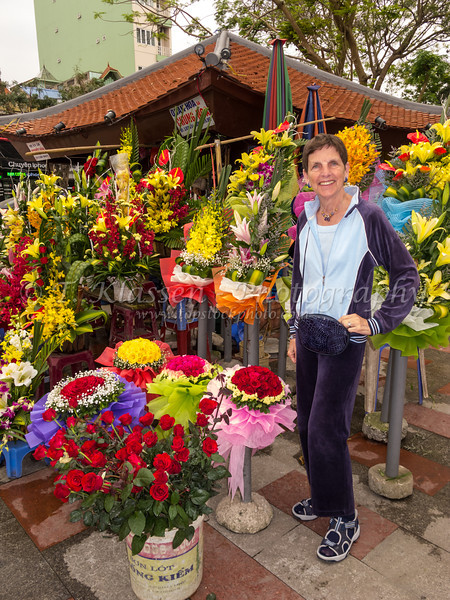 A flower market on the street in Hai Phong, Vietnam, Asia.