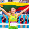 Laura Asadauskaite (LTU) celebrates winning the Modern Pentathlon gold medal