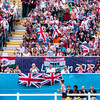 Silver medalist Samantha Murray (GBR) runs past a vocal and partisan local crowd during the Modern Pentathlon combined event