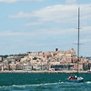24.07.2011. Sailing Audi MedCup circuit stage from Cagliari, Italy. Region of Sardinia Trophy, class TP 52 series regatta. Audi Azzurra Sailing Team (Italy) returns back to the harbour of Cagliari at the end of the regatta.