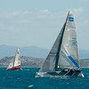 24.07.2011. Sailing Audi MedCup circuit stage from Cagliari, Italy. Region of Sardinia Trophy, class TP 52 series regatta. Container (GER) and Audi Sailing Team Powered by All4One (GER/FRA).