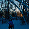 Towering oaks frmae cross country skier at sunset within Governor Nelson State Park (USA WI Middleton; RAO 2012 Nikon D300s Image 4400)