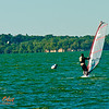 A perfect day for wind surfing on Lake Mendota near the Memorial Union Terrace of the University of Wisconsin Madison campus (USA WI Madison)