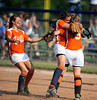 6/7/2011 Mike Orazzi | Staff Terryville's Marissa Plikus (5), Jamie Bridge (6) and Sarah Ercoli (9) celebrate the final out  during a 3-0 win over Somers in a Class S Semifinal held at West Haven High School on Tuesday, June 7, 2011.
