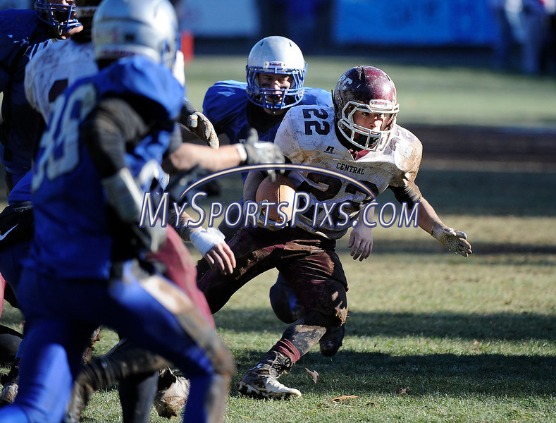 11/28/2013 Mike Orazzi | Staff Bristol Central's Tyler Burrow (22) during Thanksgiving Day football at Muzzy Field. Eastern won 21-18.