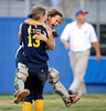 7/26/2013 Mike Orazzi | Staff New Jersey's Shea Walsh (5)  and Alexa Petito (13) celebrate after an 11-0 Jersey win over New York  in the 2013 Little League Softball Eastern Regional final at Breen Field on Friday night.