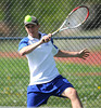 5/7/2013 Mike Orazzi | Staff Bristol Eastern's Nicholas Cimadon during a boys tennis match with South Windsor at BEHS on Tuesday afternoon.