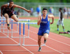 4/14/2013 Mike Orazzi | Staff Bristol Eastern's Jean-Claude Mouannes takes first place in the 110 hurdles against Bristol Central at Eastern on Tuesday.