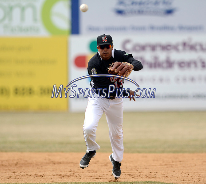 4/5/2014 Mike Orazzi | Staff Rock Cats' Aderling Mejia (13) during Saturday's game with the Richmond Flying Squirrels in New Britain.