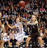 3/22/2014 Mike Orazzi | Staff<br /> St. Paul Catholic's Elisabeth Cretella (21) and Thomaston's Abigail Hurlbert (5) during the CIAC 2014 State Girls Basketball Tournament Class S Final at Mohegan Sun Arena Saturday. Thomaston won 61-57 in double over-time.