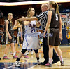 3/22/2014 Mike Orazzi | Staff<br /> Thomaston High School's Abigail Hurlbert (5) and St. Paul Catholic's Elisabeth Cretella (21) during the CIAC 2014 State Girls Basketball Tournament Class S Final at Mohegan Sun Arena Saturday. Thomaston won 61-57 in double over-time.