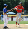 8/7/2014 Mike Orazzi | Staff<br /> Rhode Island Jayden Struble (14) after his home run during the Eastern Regional Little League Tournament at Breen Field in Bristol on Thursday.