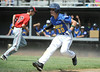 8/7/2014 Mike Orazzi | Staff<br /> Falmouth Maine's Francis Kiely Brady Douglas (20) tagged out between third and home during the Eastern Regional Little League Tournament at Breen Field in Bristol on Thursday.