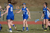 4/9/2014 Mike Orazzi   Staff<br /> Newington's Elena Hynes (4) celebrates a goal during Wednesday's match at Eastern.