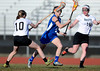 4/9/2014 Mike Orazzi   Staff<br /> Newington's Elena Hynes (4) and Bristol's Ciara Devany (10) and Stacey Castle (15) celebrates a goal during Wednesday's match at Eastern.