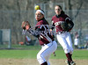 4/17/2014 Mike Orazzi | Staff Bristol Central's Lauren Vallee (14) fields a ground ball at Sage Park in Berlin Thursday.