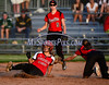 6/11/2014 Mike Orazzi | Staff<br /> Berlin High School's Vanessa Reimer (18) attempts to tag Sacred Heart Academy's Emily Velez (5) as she slides safely into second during the Class L Semifinal at West Haven High School on Wednesday night.