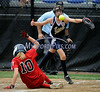 7/19/2014 Mike Orazzi | Staff<br /> Maine's Kelley Mia (10) scores as Vermont's  Kirsten Appenzeller (3) covers home during the Little League Softball Eastern Regional Tournament at Leon Breen Memorial Field in Bristol on Saturday.