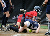 7/19/2014 Mike Orazzi | Staff<br /> Maine's Madison Blanche (9) scores as Vermont's Rachel Yandow (21) runs her down during the Little League Softball Eastern Regional Tournament at Leon Breen Memorial Field in Bristol on Saturday.