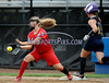 7/19/2014 Mike Orazzi | Staff<br /> Vermont's Madeline Reed (11) safe at first as Maine's Hannah Dobecki (12) takes the throw during the Little League Softball Eastern Regional Leon Breen Memorial Field in Bristol on Saturday.