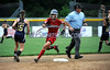 7/19/2014 Mike Orazzi | Staff<br /> Maine's Madison Blanche (9) rounds second during the Little League Softball Eastern Regional Tournament at Leon Breen Memorial Field in Bristol on Saturday.