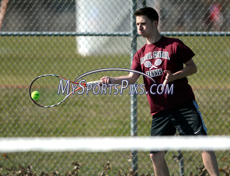 4/9/2014 Mike Orazzi   Staff<br /> Bristol Central's Dante Tagariello during Wednesday's tennis match with Eastern at Eastern.
