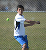 4/9/2014 Mike Orazzi | Staff<br /> Bristol Eastern's Muhammad Abdulsalam during Wednesday's tennis match with Central at Eastern.