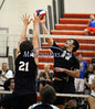 6/13/2014 Mike Orazzi | Staff<br /> Newington High School's Flavio Lici (17) and Oxford's Nick Orban (21) during the CIAC 2014 State Boys Volleyball Tournament at Shelton High School Friday night.