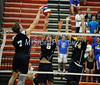 6/13/2014 Mike Orazzi   Staff<br /> Newington High School's Connor Ericson (5) and Jonathan Cloutier (14) and Oxford High School's Joshua Thorne (7) during the CIAC 2014 State Boys Volleyball Tournament at Shelton High School Friday night.