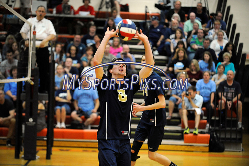 6/13/2014 Mike Orazzi   Staff<br /> Newington High School's Riley McManus (8) during the CIAC 2014 State Boys Volleyball Tournament at Shelton High School Friday night.
