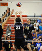 6/13/2014 Mike Orazzi | Staff<br /> Newington High School's Jonathan Cloutier (14) and Oxford High School's Nick Orban (21) during the CIAC 2014 State Boys Volleyball Tournament at Shelton High School Friday night.