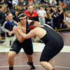 2/22/2014 Mike Orazzi | Staff Bristol Eastern's Jacob Pelletier and E.O. Smith's Robert Clarke in a 220 match at Bristol Central on Saturday.