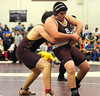 2/22/2014 Mike Orazzi | Staff Bristol Central's Cody McQuarrie and South Windsor's John Sanzo in a 220 match at Bristol Central on Saturday.